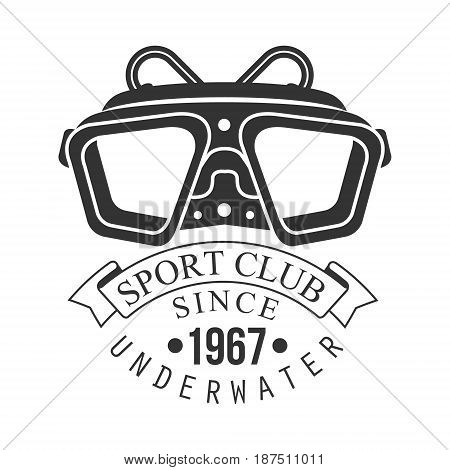 Underwater sport club since 1967 vintage logo. Black and white vector Illustration for diver school or club emblem, elements for badge, print, tattoo, label