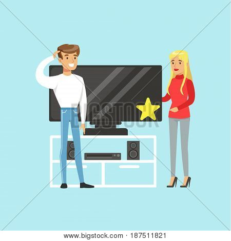 Young blond woman choosing TV with shop assistant help in appliance store colorful vector Illustration cartoon character