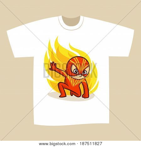T-shirt Print Design Cartoon Superhero Vector Illustration