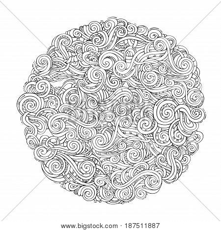 Vector Decorative Doodles Round Curved Pattern.