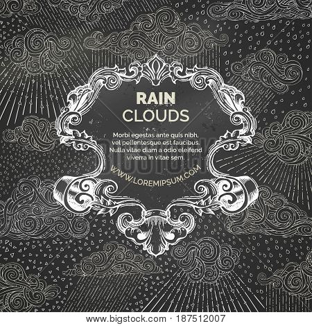 Vector Chalk Rainy Background.