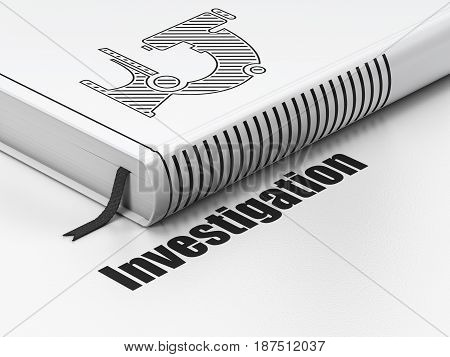 Science concept: closed book with Black Microscope icon and text Investigation on floor, white background, 3D rendering