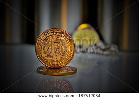 Digital currency physical brass bitcoin coin money