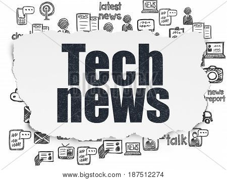 News concept: Painted black text Tech News on Torn Paper background with  Hand Drawn News Icons