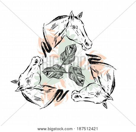 Hand drawn vector textured lined ink graphic horses head illustration with abstract tropical exotic flowers in pastel, pink and green colors isolated on white background.