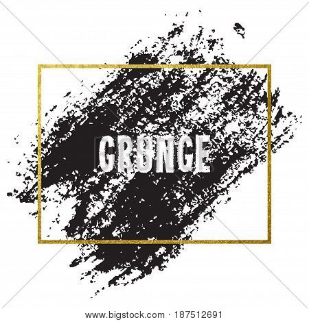 Vector illustration of brush stroke. Hand drawn by black paint grunge texture. Blot of ink with gold frame isolated on white background.