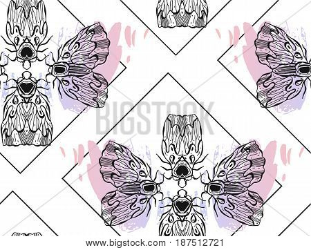 Hand drawn vector textured lined ink graphic moth and butterfly seamless pattern pastel pink colors isolated on white background.