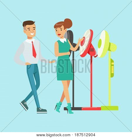 Young woman choosing electric fun with shop assistant help. Appliance store colorful vector Illustration cartoon character