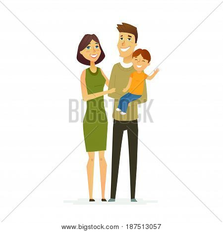 Family - colored vector modern flat illustration composition of cartoon people characters. Father, mother, young son. United and happy.