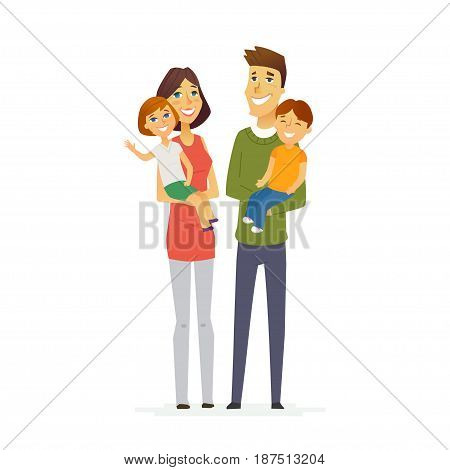 Family - colored vector modern flat illustration composition of cartoon people characters. Father, mother, young daughter and son. United and happy.