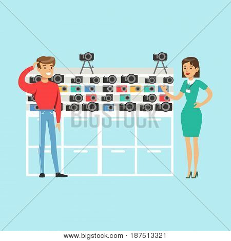 Young man choosing camera with shop assistant help in appliance store colorful vector Illustration, cartoon character