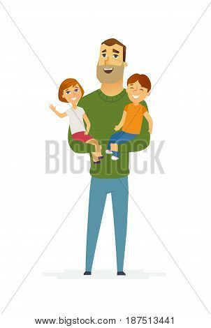 Family - colored vector modern flat illustration composition of cartoon people characters. Single parent. Father in a green sweater, two children, boy and girl. United and happy.
