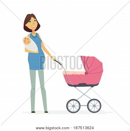 Family - colored vector modern flat illustration composition of cartoon people characters. Single parent. Mother in a blue t-shirt holding a baby and a carriage.