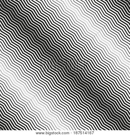 Seamless diagonal halftone background. Black and white zig zag texture. poster