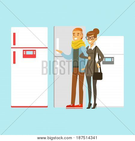 Positive young family couple choosing fridge. Appliance store colorful vector Illustration, cartoon characters