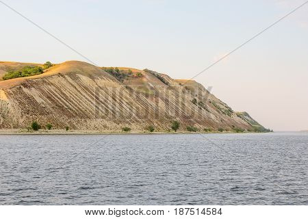 High Bank of the Volga near the city of Saratov, Russia. The hilly side of the river. Summer.