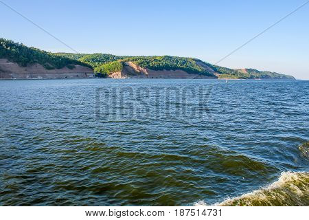 High right Bank of the Volga river, Russia. Photographing from the ship. Summer Sunny day