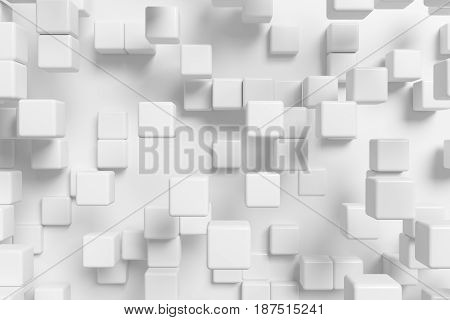 White abstract graphic background made of white cubes in front view 3d illustration for different conceptual graphic design projects