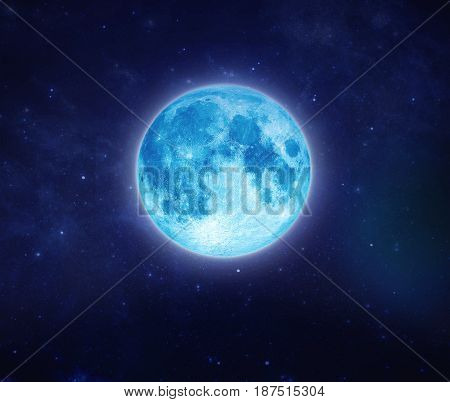 Full blue moon over sky and star at night. Outdoors at night. Beautiful lunar shine moonlight at nighttime with copy space background for headline text and graphic design. Elements of this image furnished by NASA