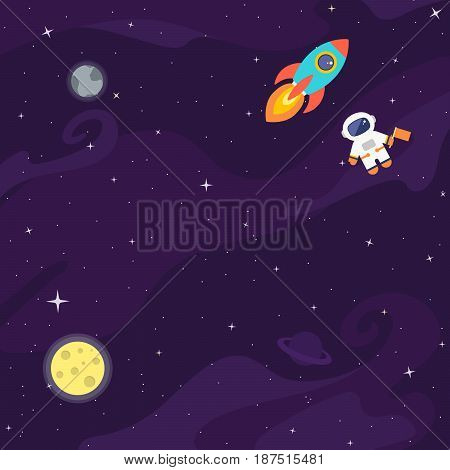 Space flat vector background with astronaut rocket spaceship moon planets and stars. Space for your text.