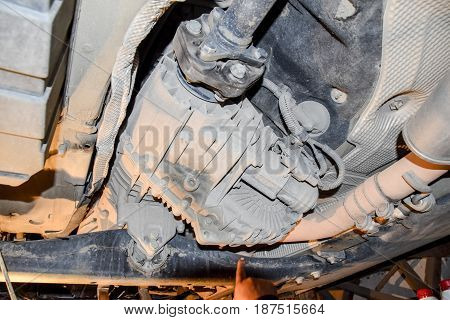 Reducer Of Torque Transmission To The Rear Axle Of The Car. Car Service