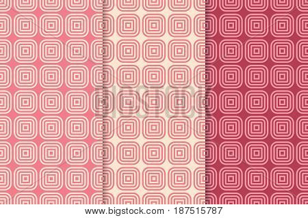 Geometric seamless pattern. Red abstract background with square shape elements. Vector illustration