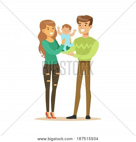 Happy smiling man, woman and small baby standing together colorful characters vector Illustration isolated on a white background
