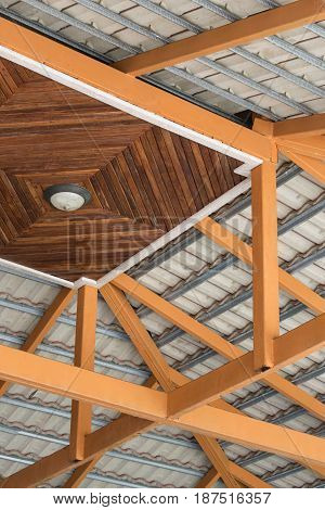 Structure of roof with wooden and steel.