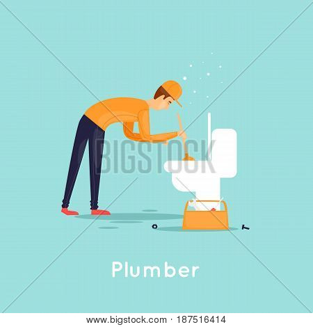Plumber repair sewer. Flat design vector illustration.