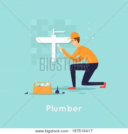 Plumber repair water supply. Flat design vector illustration.