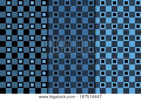 Checkered plaid fabric. Blue seamless pattern for textile. Vector illustration