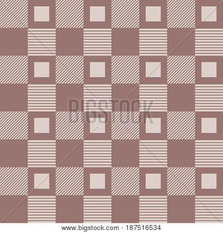Checkered plaid fabric. Brown seamless pattern for textile. Vector illustration