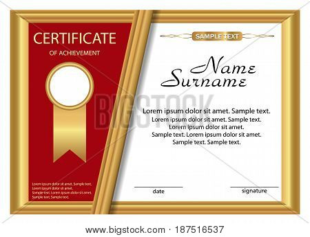 Template certificate of achievement. Gold and red design. Vector illustration.