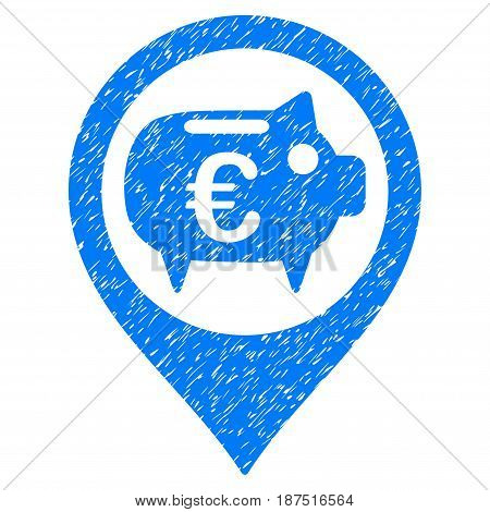 Grunge Euro Bank Pointer icon with grunge design and scratched texture. Unclean vector blue pictogram for rubber seal stamp imitations and watermarks. Draft sticker symbol.