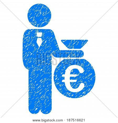 Grunge Euro Banker icon with grunge design and unclean texture. Unclean vector blue pictogram for rubber seal stamp imitations and watermarks. Draft sticker symbol.