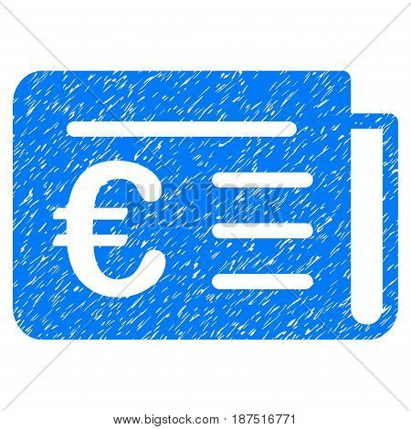 Grunge Euro Banking News icon with grunge design and dust texture. Unclean vector blue pictogram for rubber seal stamp imitations and watermarks. Draft emblem symbol.