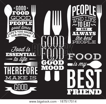 set of vintage typographic food quotes for the menu or t-shift with knife spoon fork.