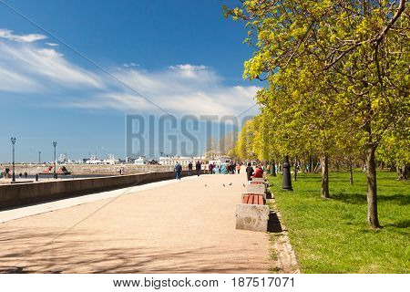 the embankment in the city of Kronstadt in clear summer day, St. Petersburg, Russia