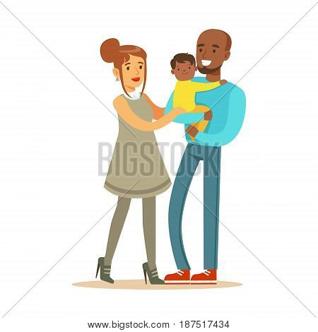 Happy interracial couple with their little mullato baby colorful characters vector Illustration isolated on a white background