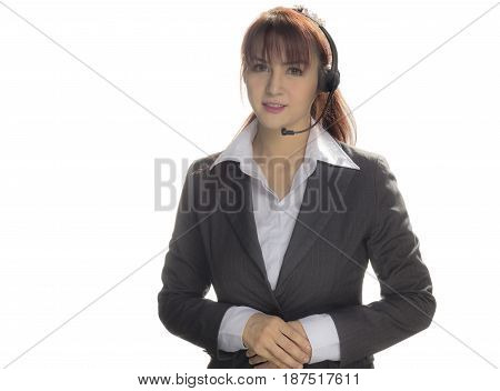 Call center woman with headset Studio shot. Business woman smile with headset isolated on a white background with copyspace. Customer Service Agent are smiling during a telephone conversation.