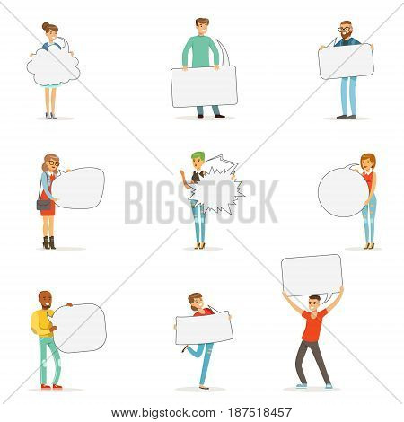 Man and woman standing and holding blank speech bubbles. Communication between people vector Illustrations isolated on a white background