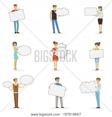 Young man and woman standing with blank speech bubbles. Communication between people vector Illustrations isolated on a white background