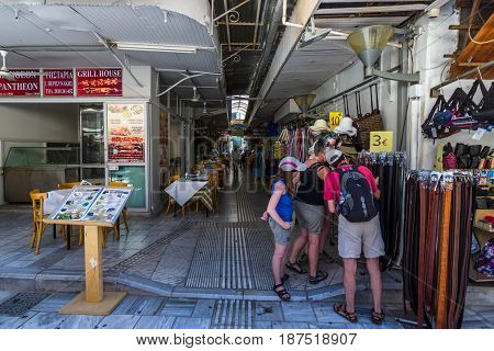HERAKLION GREECE - JULY 09 2016: Crete. The popular market and shopping street №1866 in the historic center of the city. Heraklion - the largest city on the island.