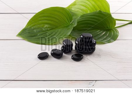 Spa treatment and aromatherapy concept background. Zen black marble stones, accessories for wellness beauty parlor. White wood with copy space