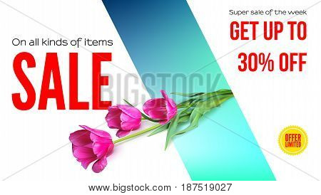 Sale, summer sale, get your discount. Horizontal ad with a bouquet of tulips on colored background. Template for shopping, advertising, percentage of discounts, flyers, invitation, posters, brochure.