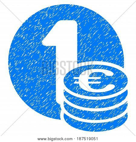 Grunge Euro Coins icon with grunge design and dust texture. Unclean vector blue pictogram for rubber seal stamp imitations and watermarks. Draft sign symbol.