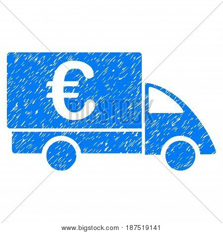 Grunge Euro Collector Car icon with grunge design and scratched texture. Unclean vector blue pictogram for rubber seal stamp imitations and watermarks. Draft sign symbol.