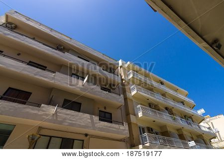 HERAKLION GREECE - JULY 09 2016: Crete. Typical residential house in the central part of the old city. Heraklion - the largest city on the island.