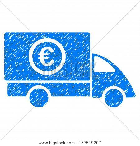 Grunge Euro Delivery icon with grunge design and unclean texture. Unclean vector blue pictogram for rubber seal stamp imitations and watermarks. Draft sticker symbol.
