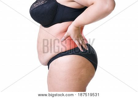 Back pain fat woman with backache overweight female body isolated on white background with red spots side view